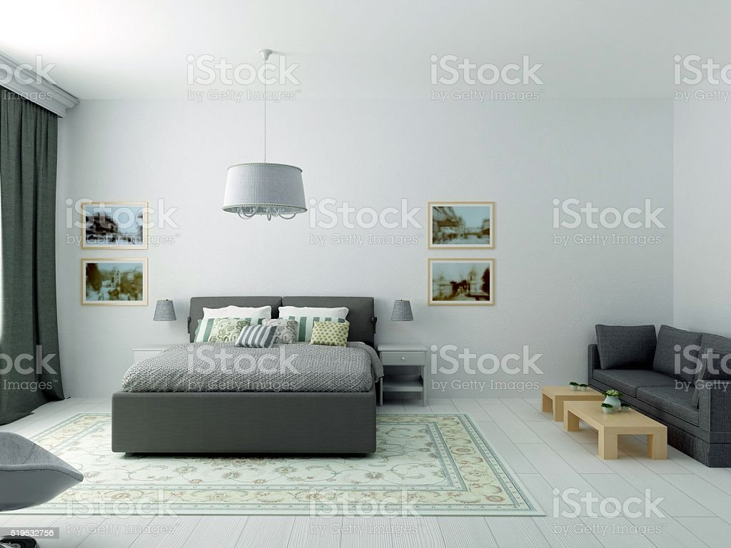 Bright cozy bedroom in classic modern style and olive colors stock photo