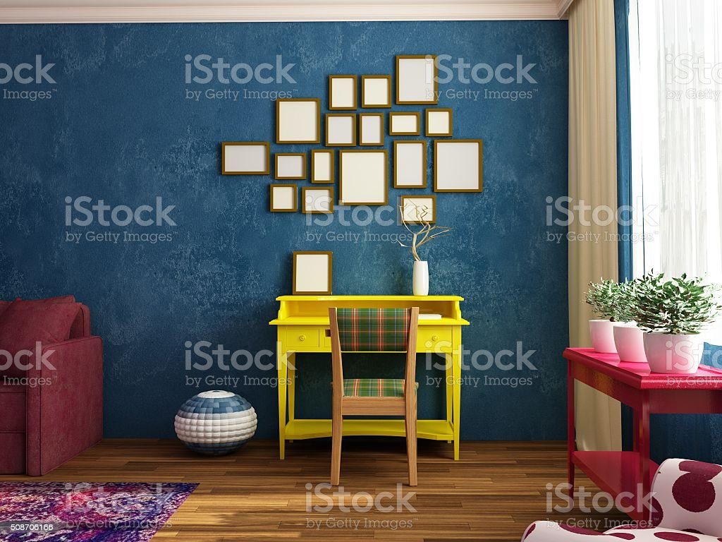 Bright, cozy, contemporary siiting room with work place, sofa stock photo
