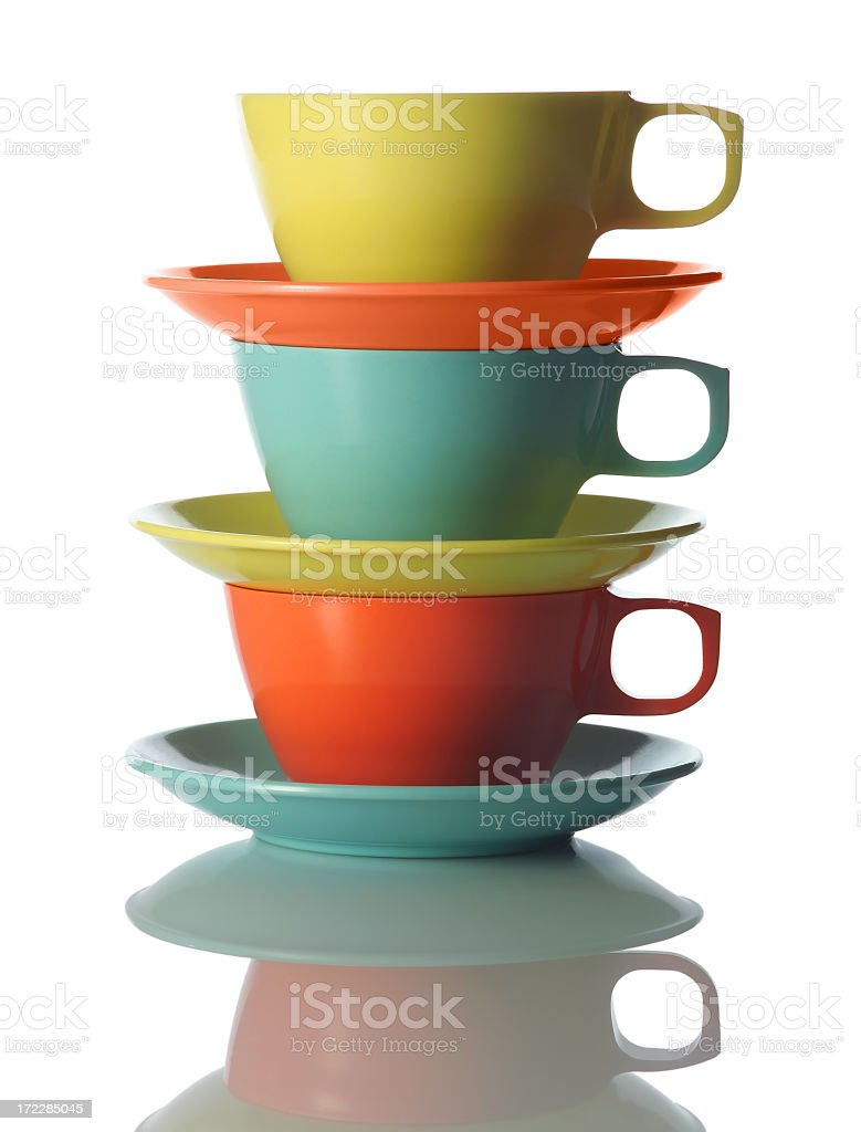 Bright cups and saucers stock photo
