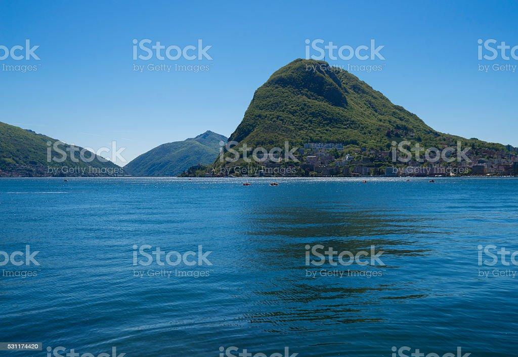 bright Day by Lugano Lake stock photo