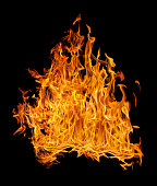 bright dense fire on black background