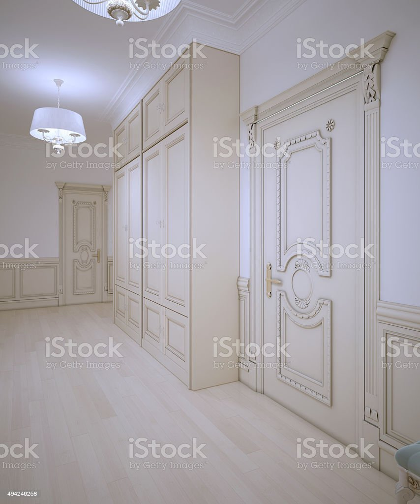 Bright design of classic corridor stock photo