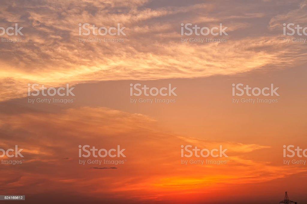 Bright dramatic sunset stock photo