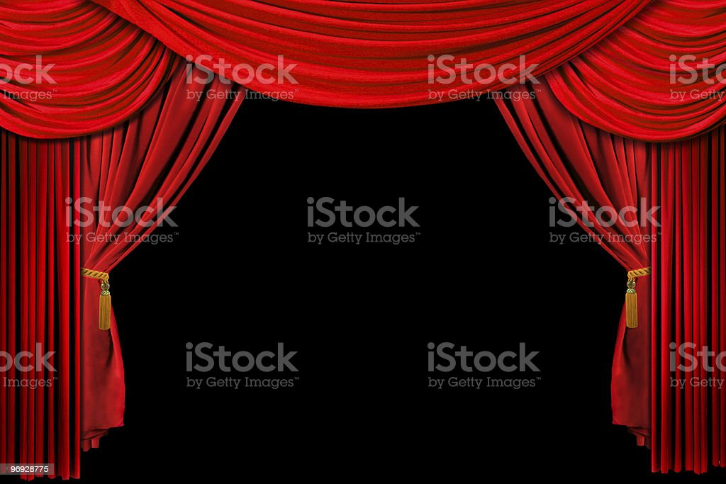 Bright Drapes on Black stock photo