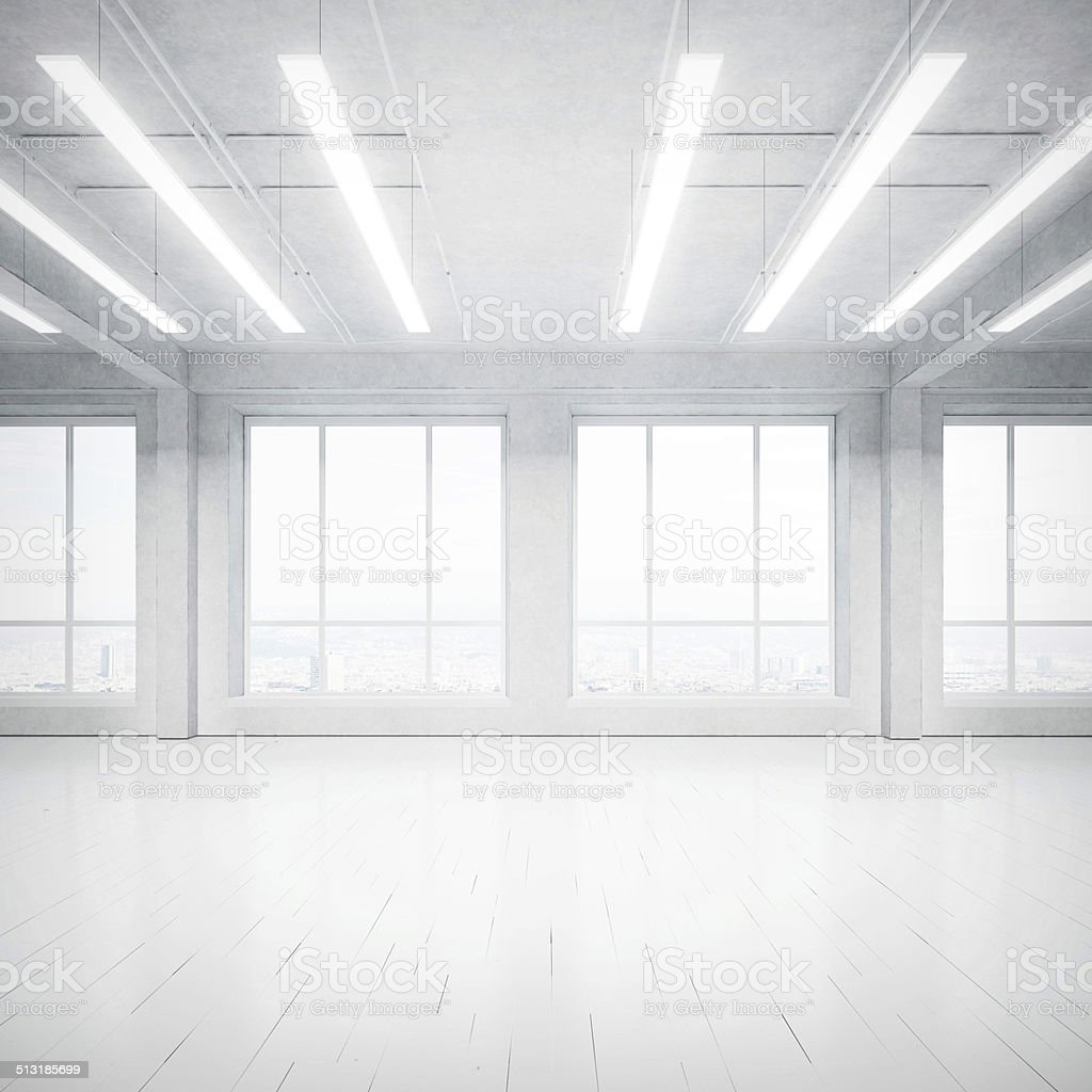 Bright empty loft interior stock photo