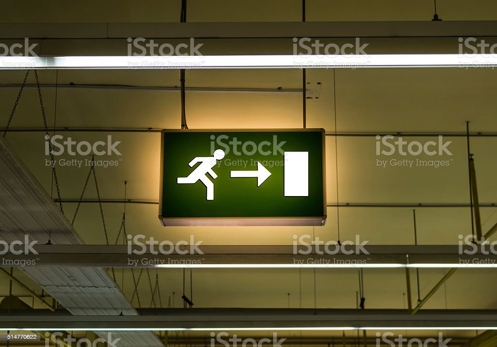 Bright exit table stock photo