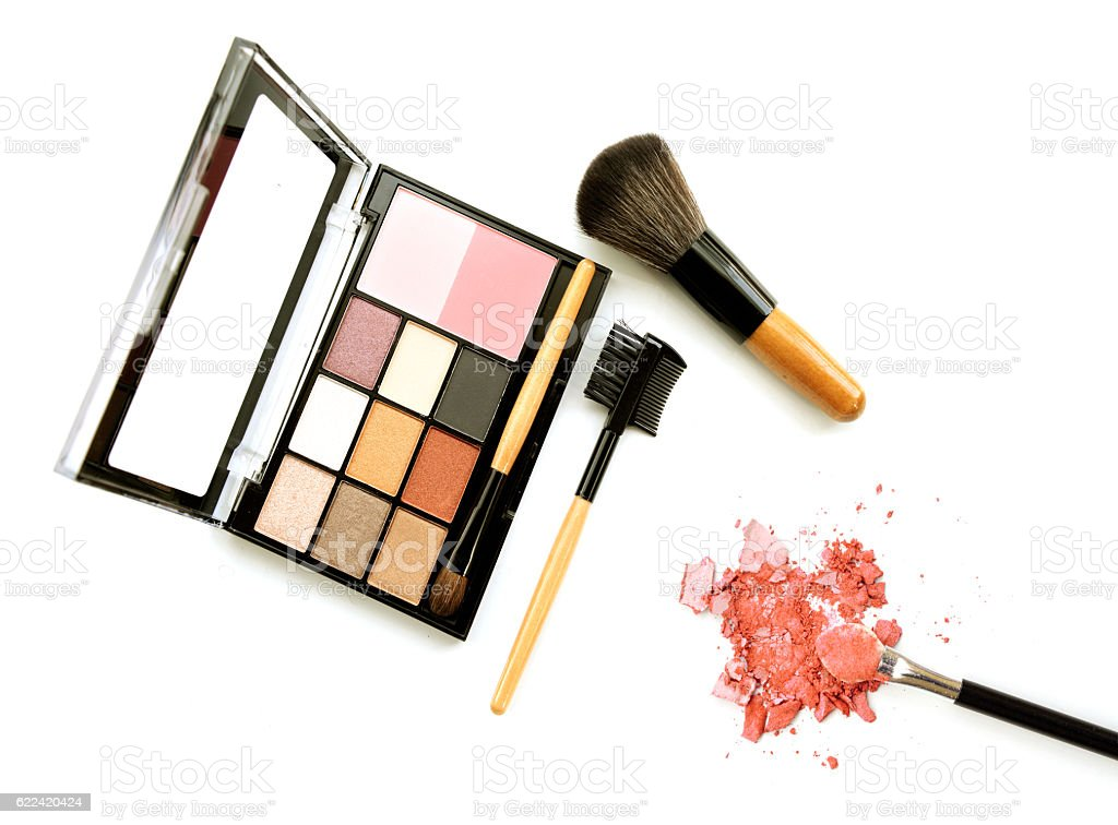 bright eye shadows and rouge with applicator, isolated on white stock photo