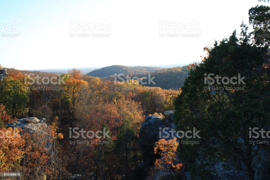 Bright Fall Colors and Rolling Hills stock photo