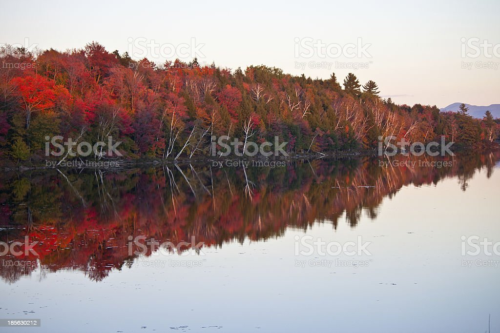 Bright Fall Leaves Reflected in Lake stock photo