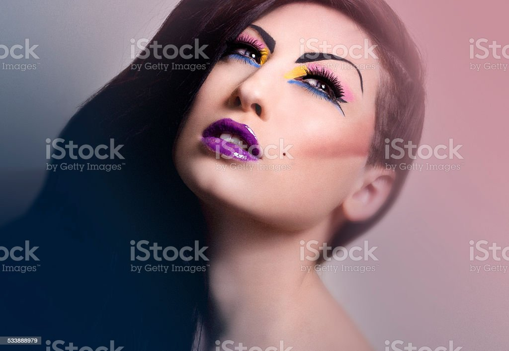 Bright Fashion and Editorial Make up stock photo
