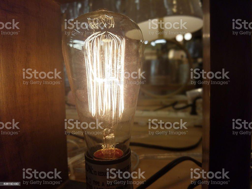 Bright Filament Light Bulb stock photo
