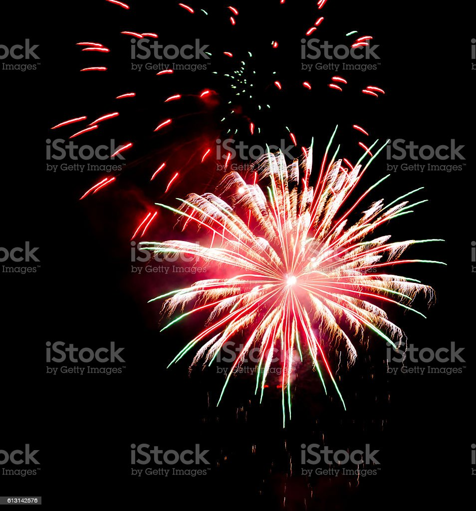 bright firework on the night sky stock photo