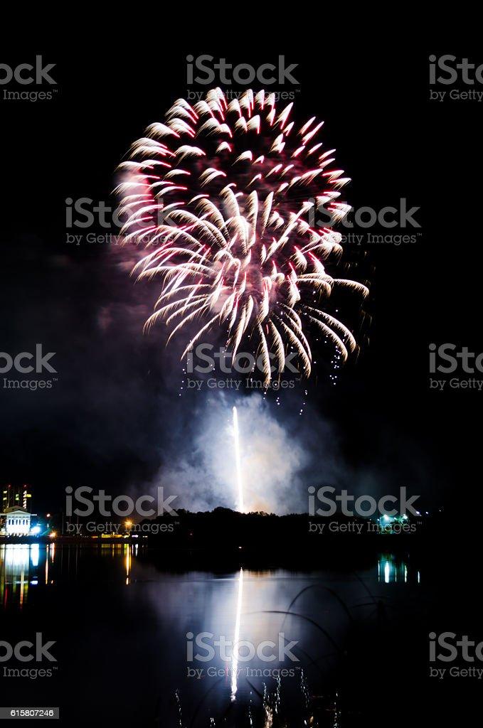 bright firework on the night sky stock photo
