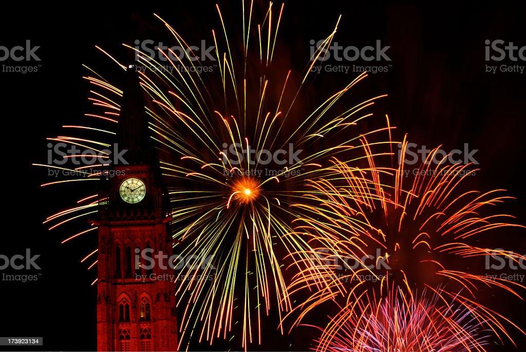 Bright fireworks display, celebrating Canada Day in Ottawa stock photo