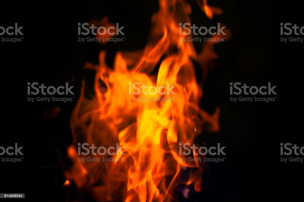 Bright flame of bonfire. Defocused. Toned stock photo