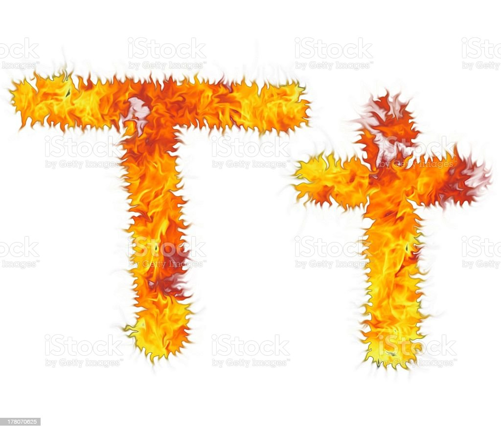 Bright flamy letter on the white background. royalty-free stock photo