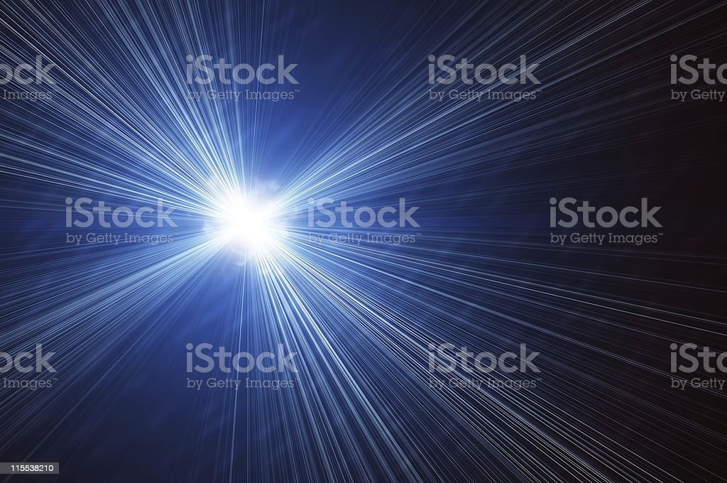 bright flash on a blue backgrounds royalty-free stock photo