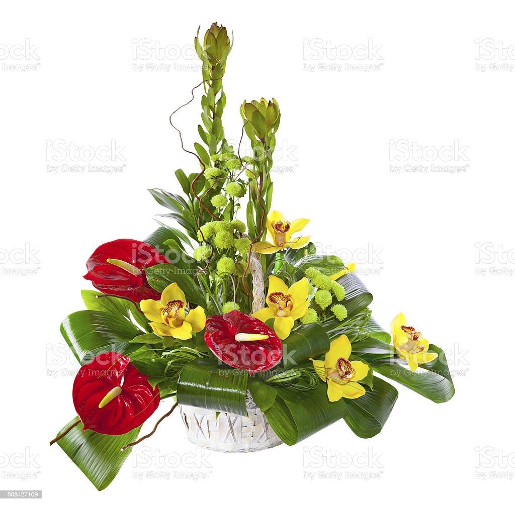 Bright flower bouquet in basket stock photo