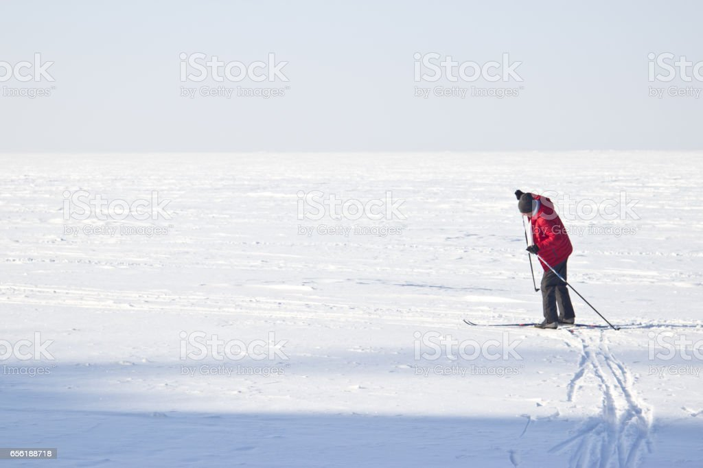 Bright frosty winter day. Frozen River Volga. Man skiing. stock photo