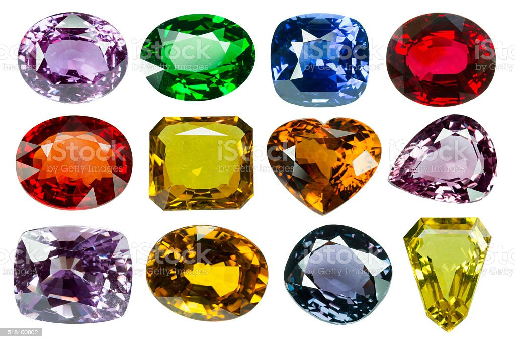 Bright gems on a white background stock photo
