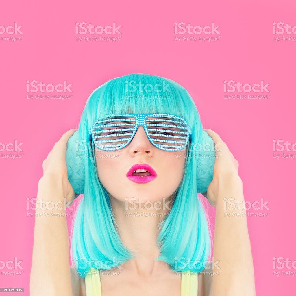 bright girl listening to music stock photo