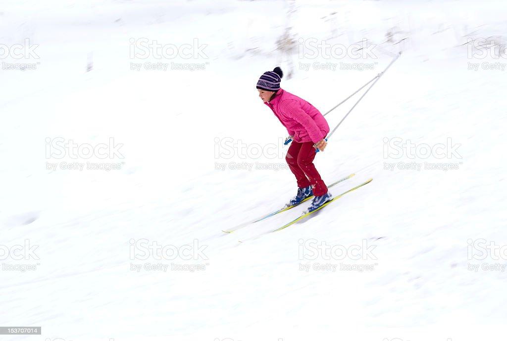 Bright girl Skiing royalty-free stock photo
