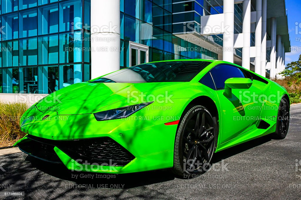 Bright green 2015 Lamborghini Huracan stock photo