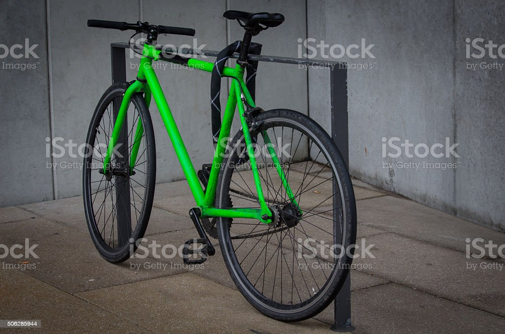 Bright Green Bicycle stock photo