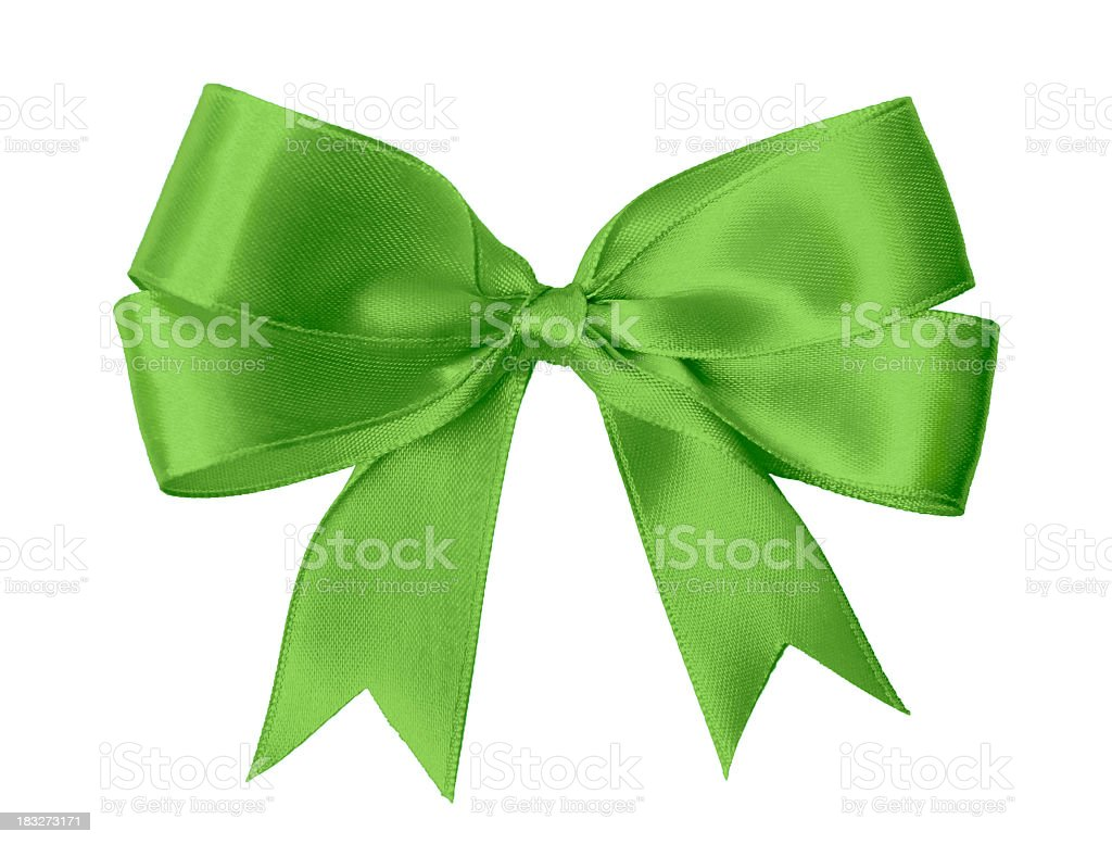 A bright green bow isolated on a white background stock photo