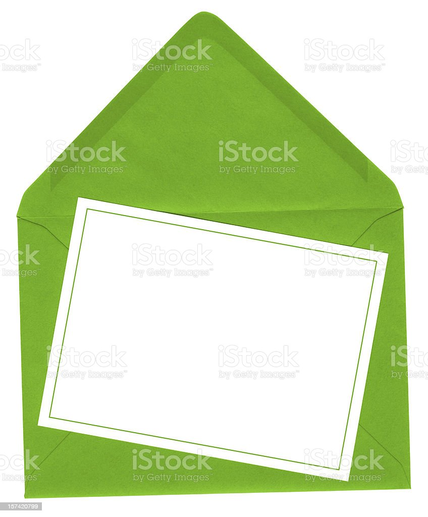 Bright green envelope with card royalty-free stock photo