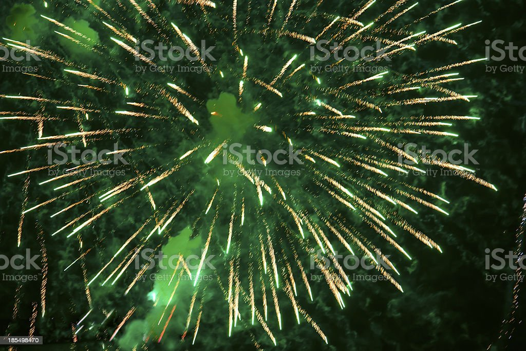 Bright green  fireworks royalty-free stock photo