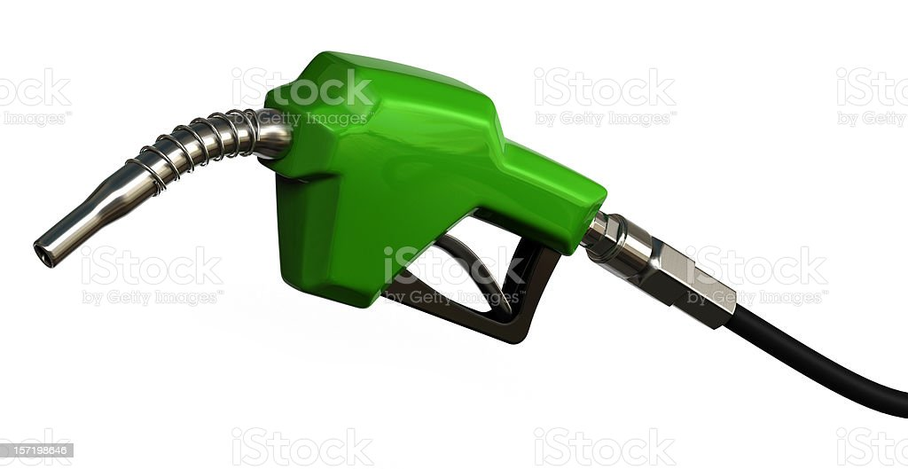 A bright green gas pump isolated on a white background royalty-free stock photo