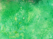 Bright green hues with splattered paint texture background