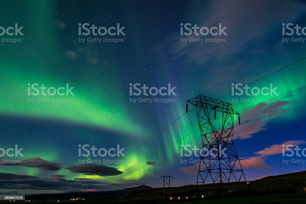 Bright green Northern lights (Aurora borealis) stock photo