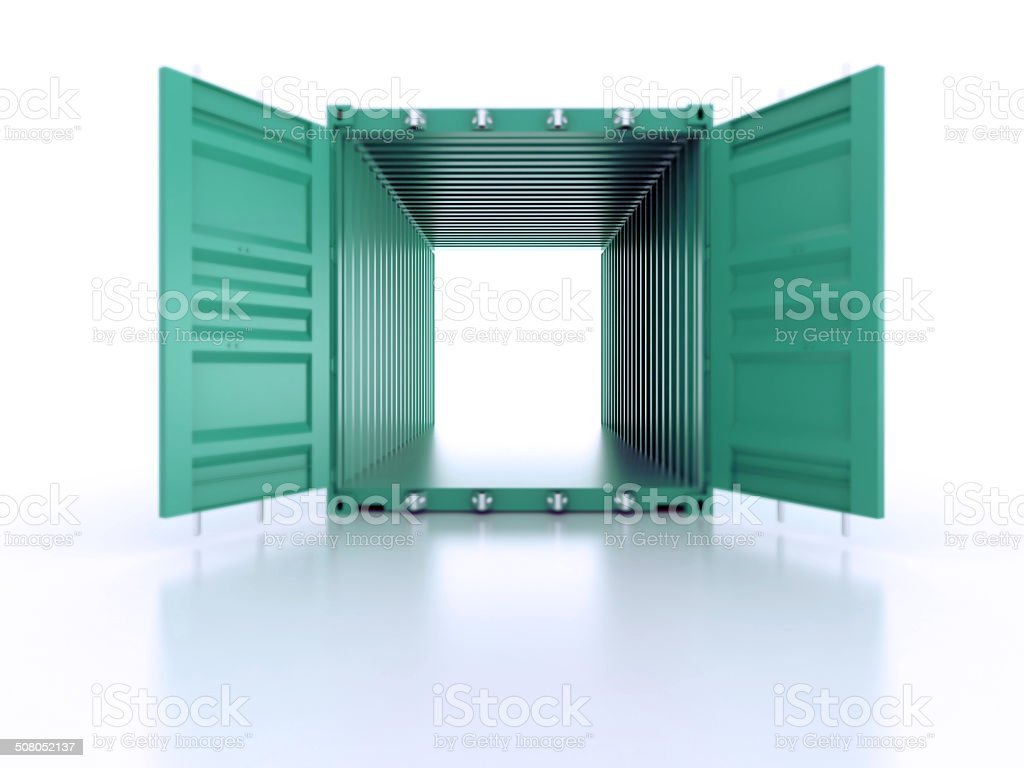 Bright green open empty metal shipping container on white stock photo