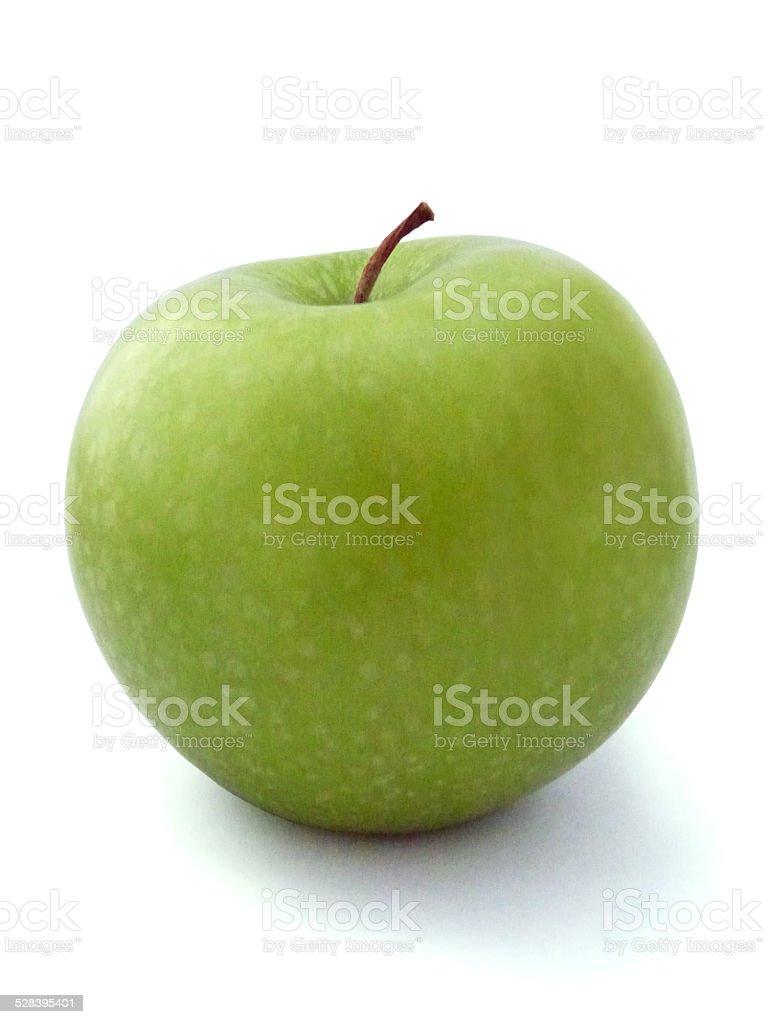Bright Green Shiny Apple Isolated Fruit Raw Food Produce Stem stock photo