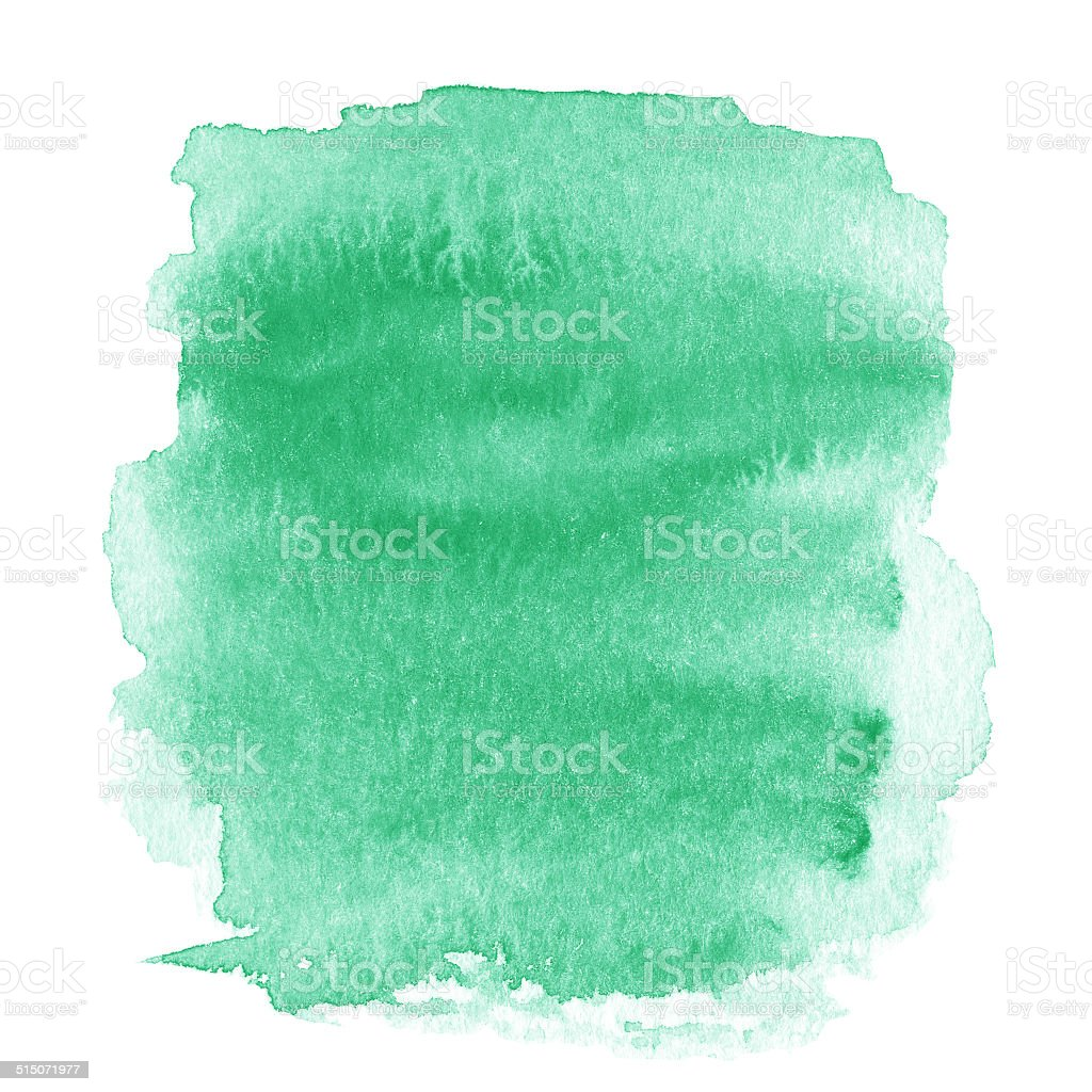 Bright green  spot, watercolor abstract hand painted textured stock photo