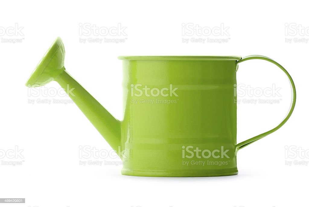 Bright green watering can white background stock photo