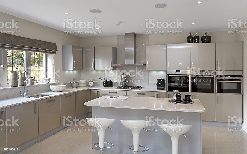bright grey kitchen stock photo