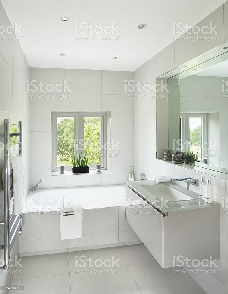 bright guests bathroom stock photo