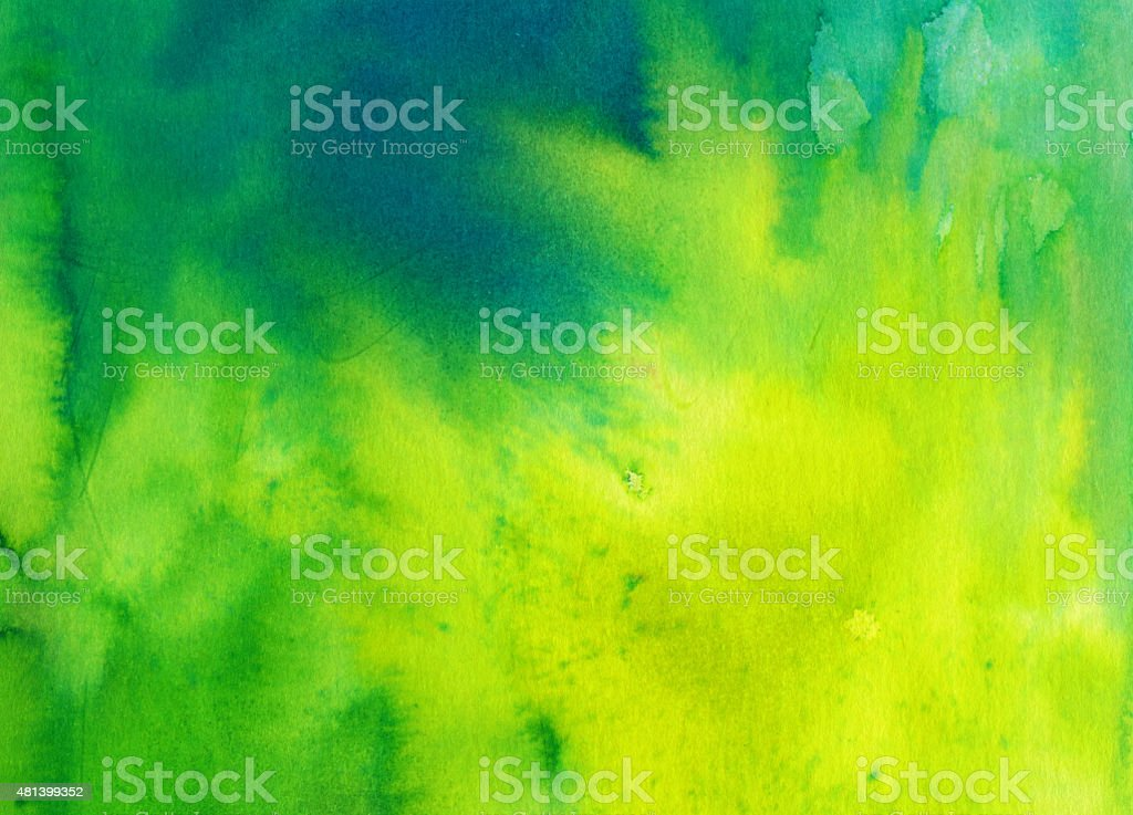 Bright hand painted background with yellow and green vector art illustration