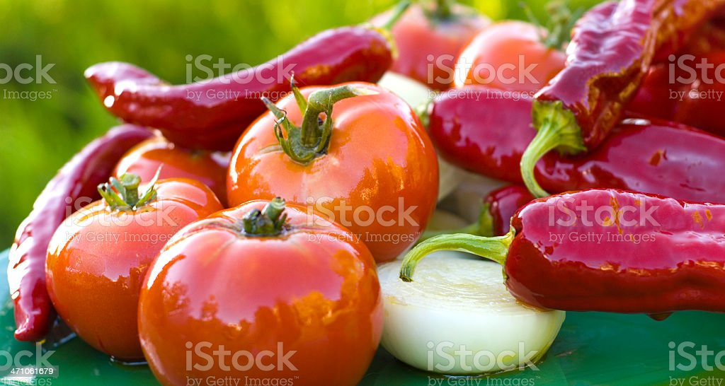 Bright Heirloom Tomatoes & Peppers for Grilling stock photo