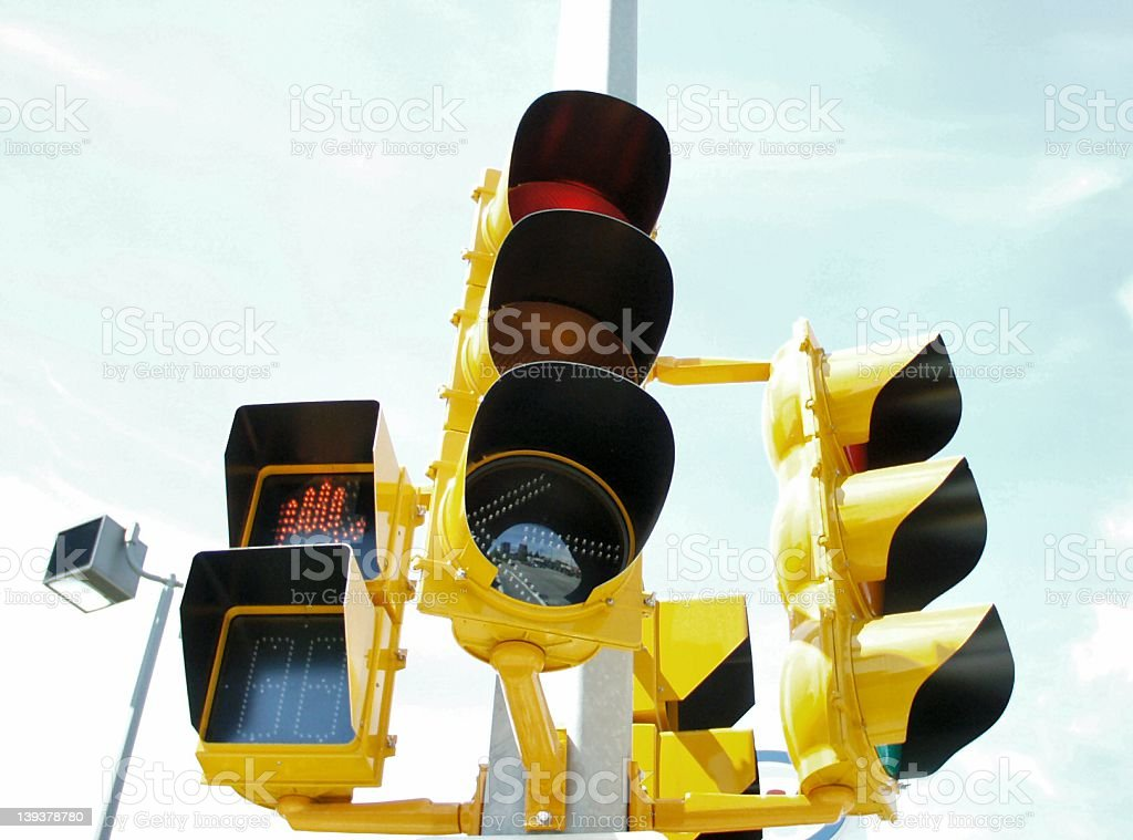 Bright high tech traffic lights royalty-free stock photo