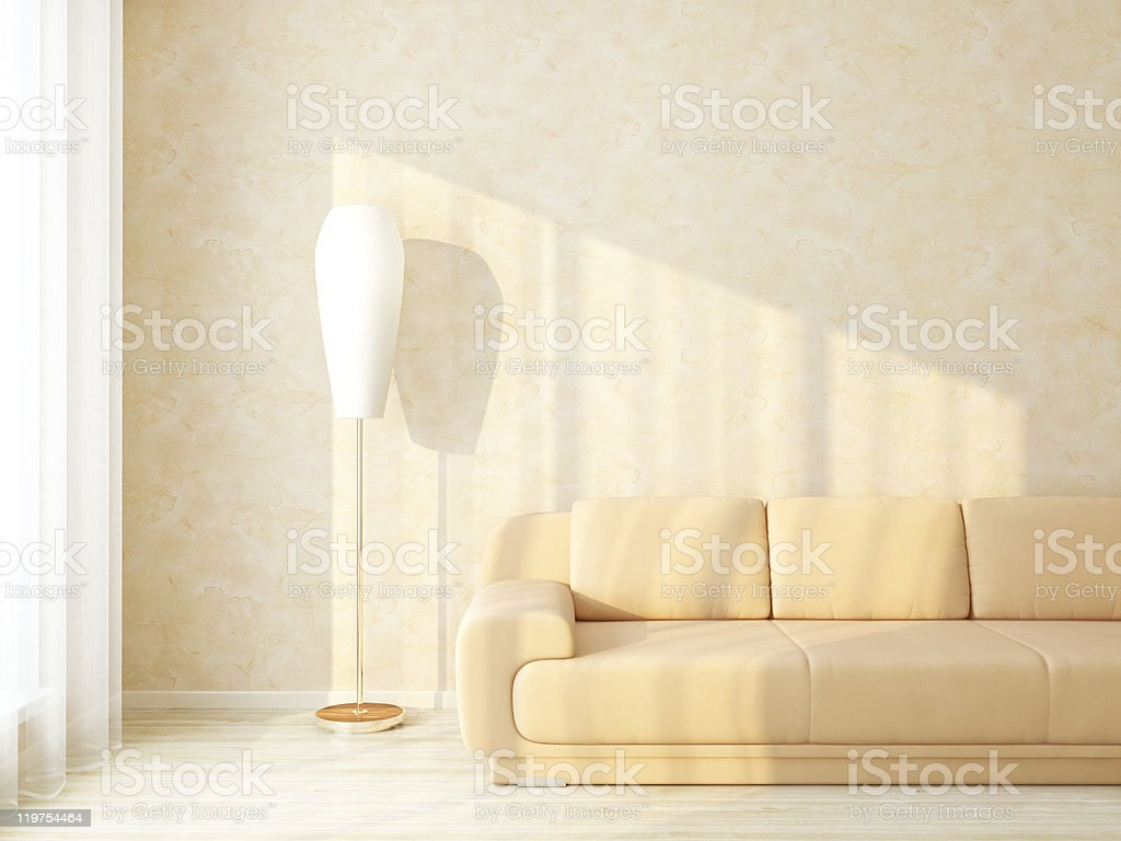 Bright Home Interior Room with Furniture near Stucco Wall royalty-free stock photo