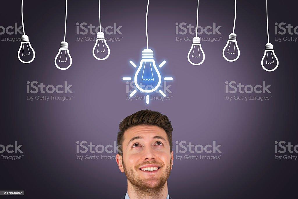 Bright Idea Over Head stock photo