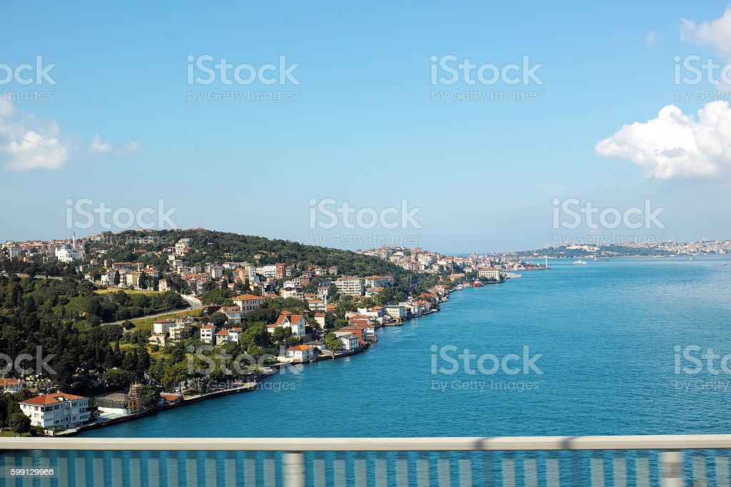 Bright Istanbul View From Bridge Blue Sky Green Landscape Sea stock photo