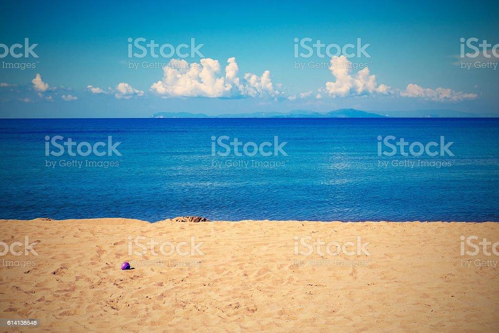bright landscape of the sea coast and sky with horizon stock photo