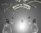 Bright light bulb with money parachute, 3D rendering