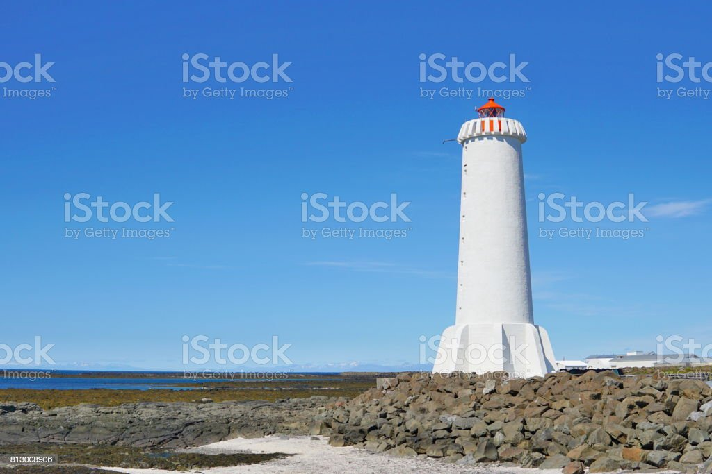 Bright lighthouse in the Icelandic town of Akranes in the western Iceland stock photo