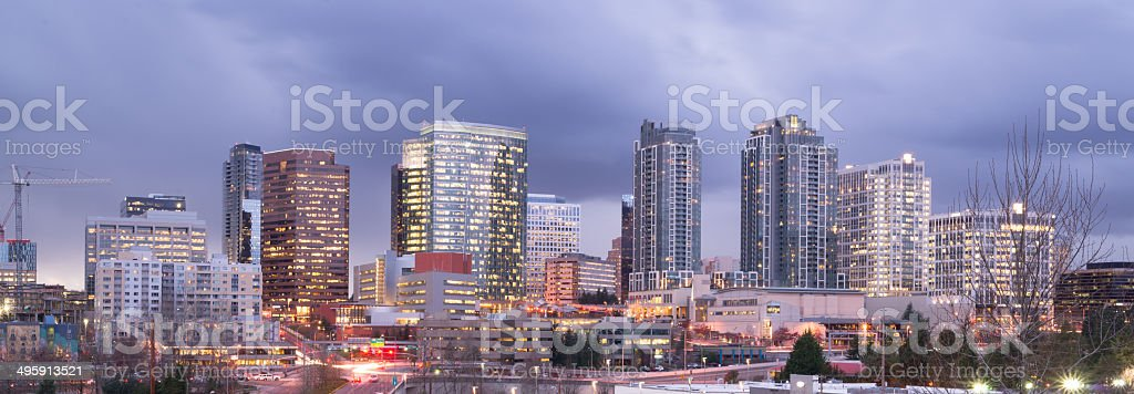 Bright Lights City Skyline Downtown Bellevue Washington United States stock photo